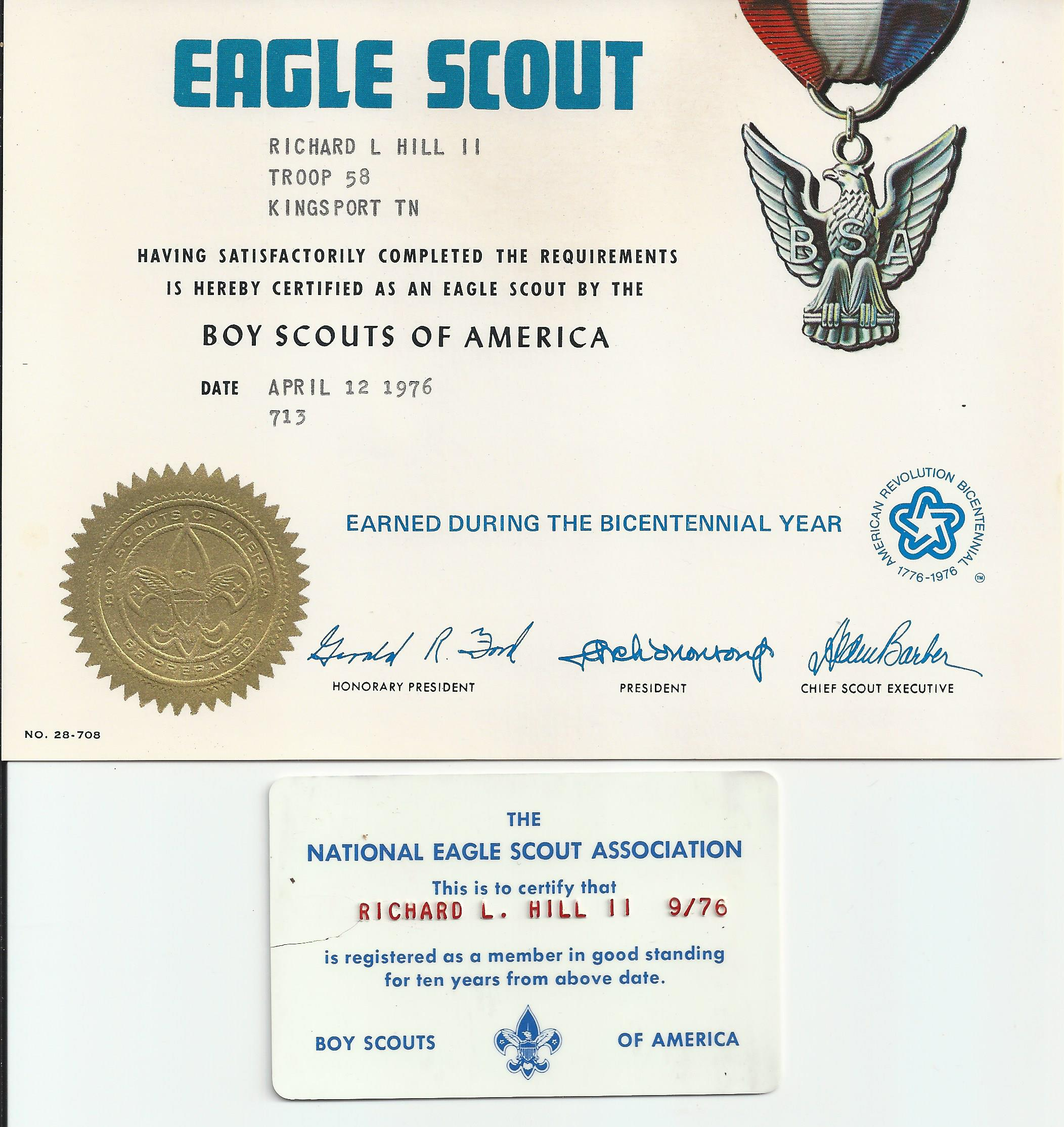 Navy rotc scholarship a new journey 1976 eagle scout award certificate with card xflitez Gallery