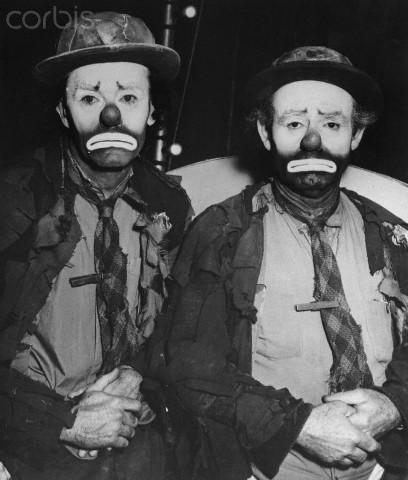 Henry Fonda and Emmett Kelly Dressed as Clowns